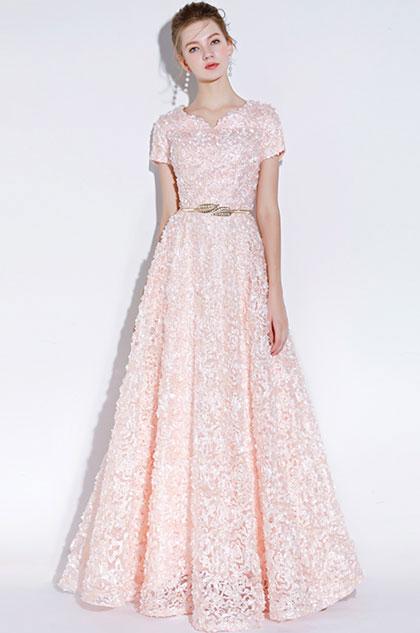 eDressit Light Pink Short Sleeves Long Party Evening Ball Dress (36218101)