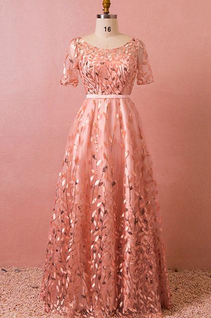eDressit Long Pink Short Sleeves Plus Size Dress Evening Dress (31192601)
