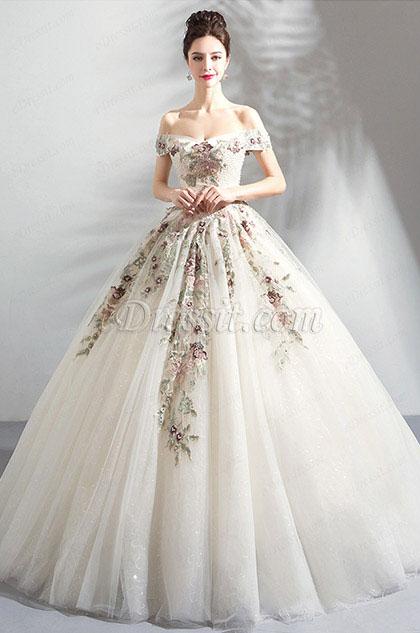 eDressit Off-Shoulder Beaded White Tulle Wedding Dress (36205107)