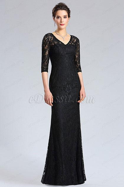 eDressit Black Long Sleeves overlace Evening Dress (36183900)