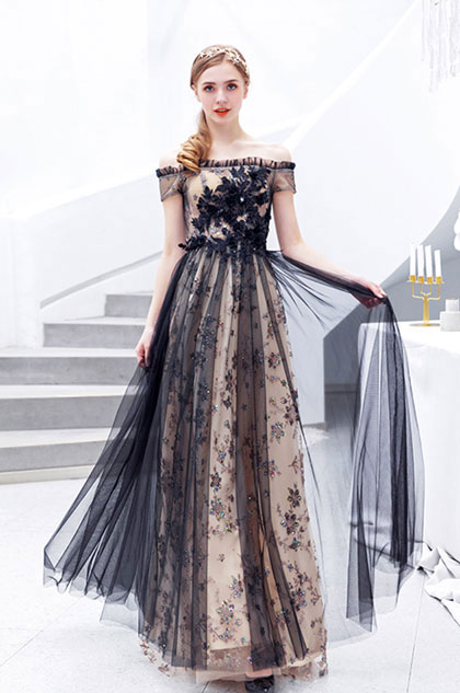 eDressit Sexy Black Off Shoulder Sheer Tulle Party Prom Dress (36213300)