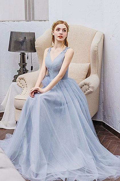 eDressit Light Blue Deep V-Cut Long Tulle Evening Party Dress (36213608)