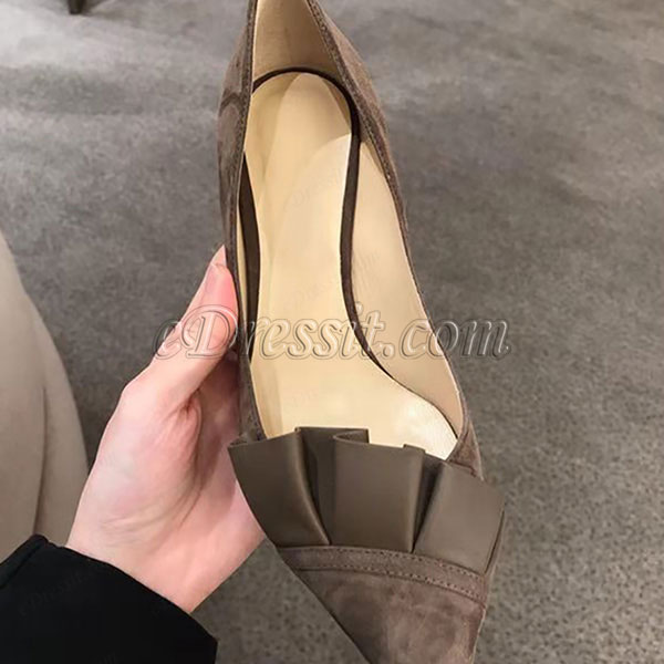 Women Chic Suede Toe Closed High Heels Shoes (0919107)