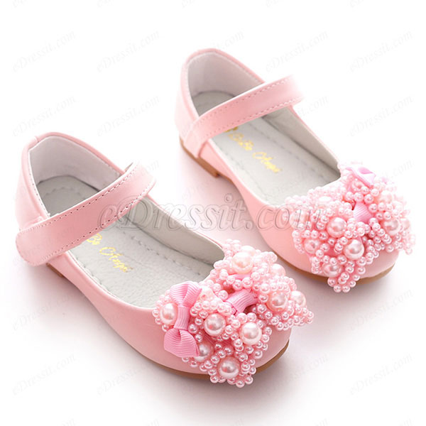 eDressit Girl's Round Closed Toe Leather Flat Flower Shoes (250020)