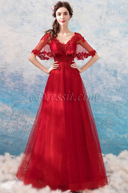 eDressit Red Cape Beaded Formal Long Evening Gown (36206102)