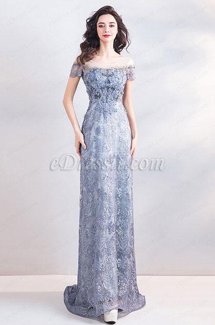 eDressit New Grey-Blue Sequins Lace Long Party Ball Dress (36206532)