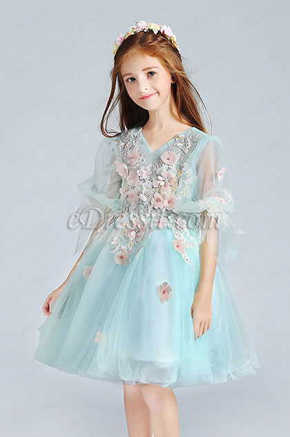 Green Short Princess Party Girl Dress