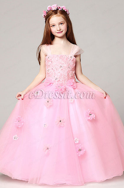 Pink Princess Wedding Flower Girl Party Dress