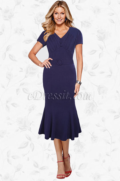 eDressit V-cut Mermaid Mi-long Mother of the Bride Dress (35194500)