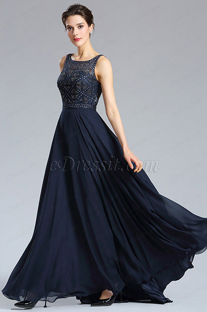 eDressit Blue Beaded A-line Prom Gown Formal Wear (36181705)