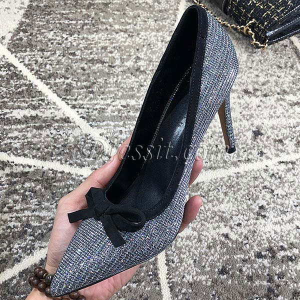 Women Bow-knot Toe Closed High Heels Shoes (0919096)