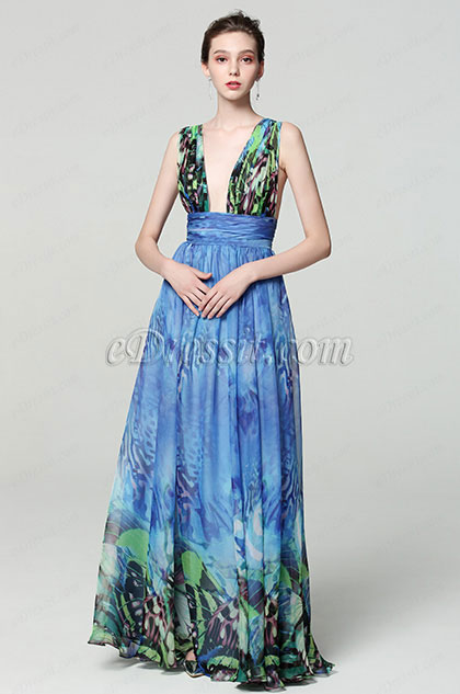 eDressit Blue V-Cut Strap Print Floral Women Party Dress (00183168F)