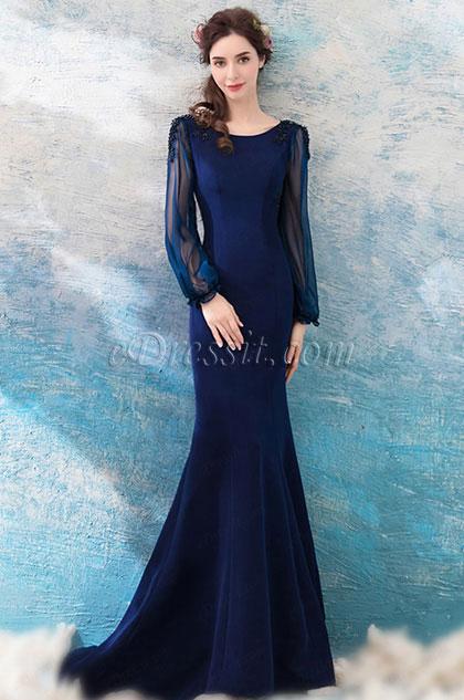 eDressit Navy Blue Sleeves Evening Dress Formal Gown (36200605)