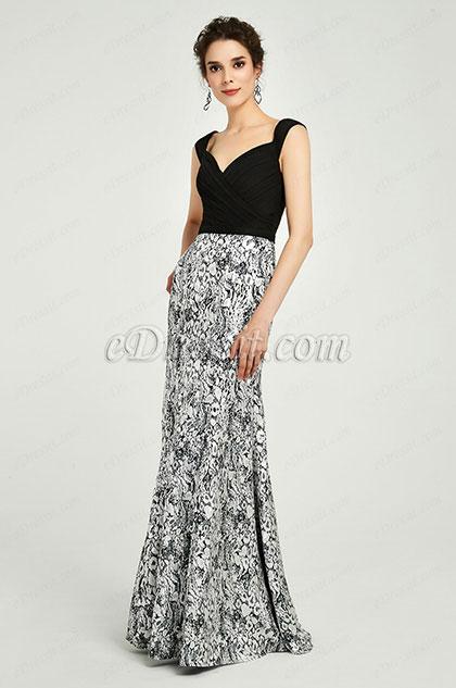 eDressit Elegant Velvet&Print Straps Evening Dress Prom Gown(00190900)