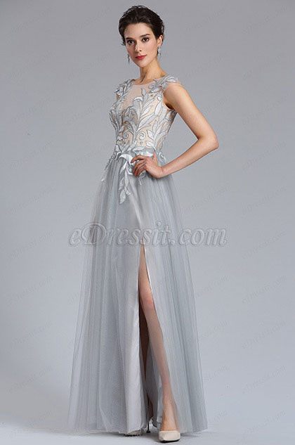eDressit Grey Tulle slit Floral Lace Evening Gown (02182408)