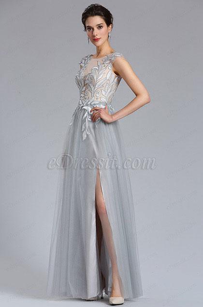 Серый тюль разрез Цветочный кружевной вечерний халат (02182408)