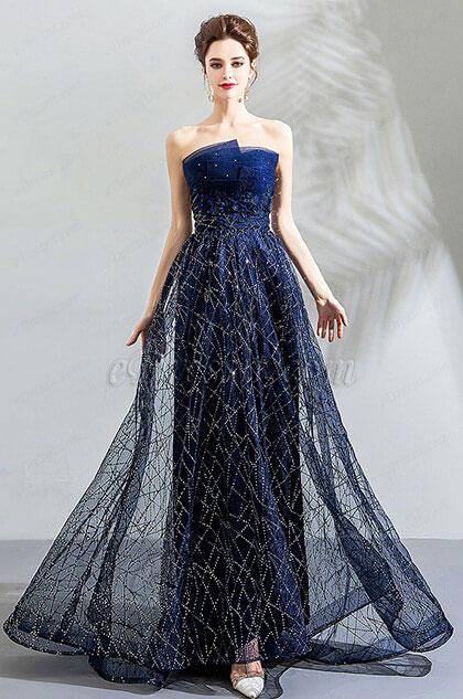 eDressit Shiny Blue Strapless Formal Party Prom Dress (36191705)
