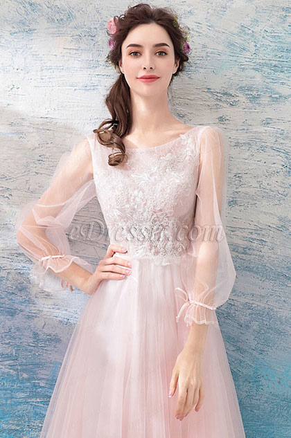 eDressit Pink Sleeves Tea Length Tulle Party Evening Dress (35190801)