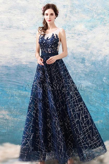 eDressit New Blue Elegant Emboridery Sparkle Formal Dress (36190105)