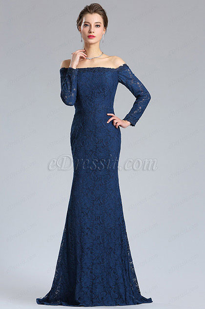 eDressit Long Sleeves Blue Overlace Evening Dress (36182905)