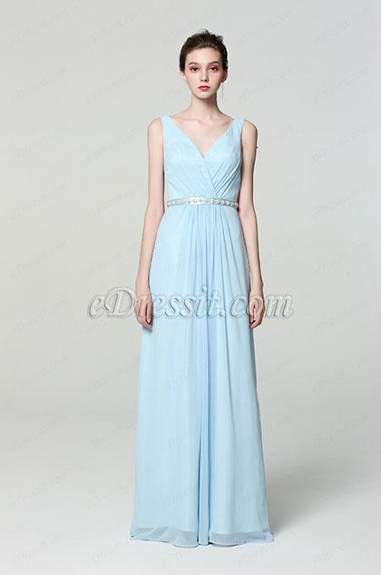 eDressit NOUVEAUTE Robe de Soirée Col en V Bleu (00190232)