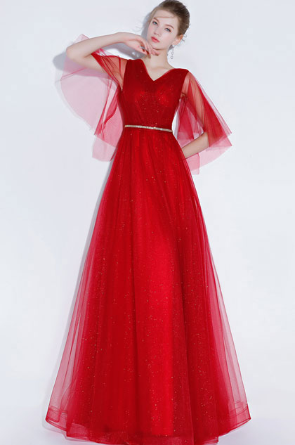 eDressit Sexy Red V-Cut Sequins Tulle Party Prom Gown (36217802)