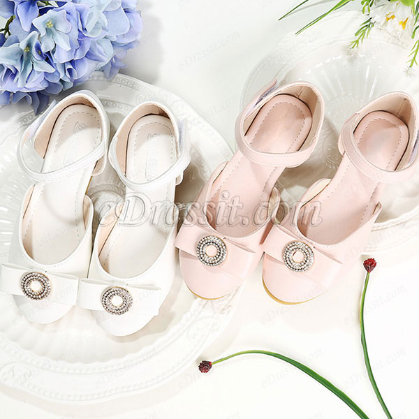 Girl's Round Toe Princess Leather Flat Flower Girl Shoes (250046)