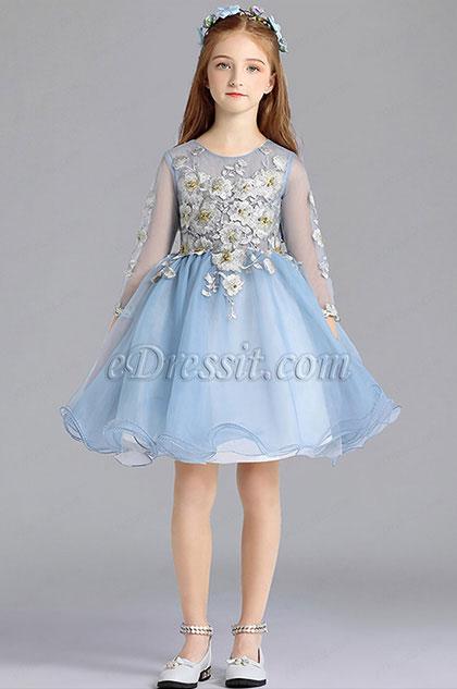 eDressit Blue Long Sleeves Cute Wedding Flower Girl Party Dress (28196405)