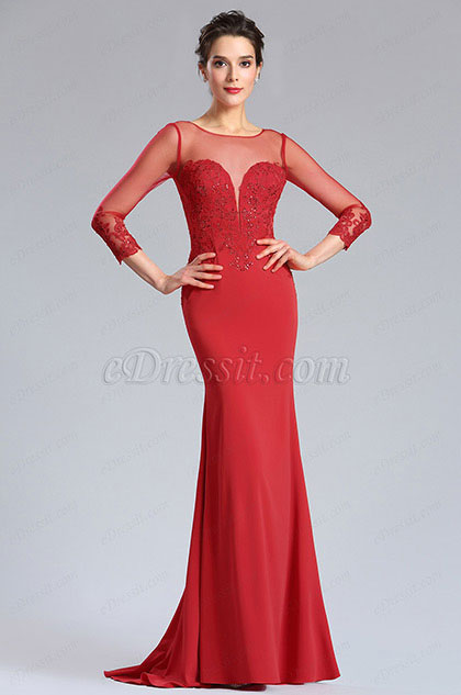 eDressit Illusion Neckline Beaded Prom Evening Dress (26181302)