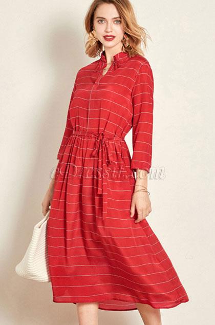 eDressit Red Classic Shirt Dress Wear to Work (30192402)