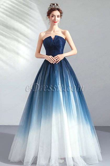 Sexy Strapless Blue&White Evening Dress Party Gown