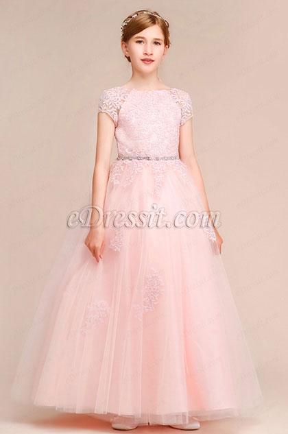 eDressit Fairy Pink Short Sleeves A-line Flower Girl Dress (27193201)