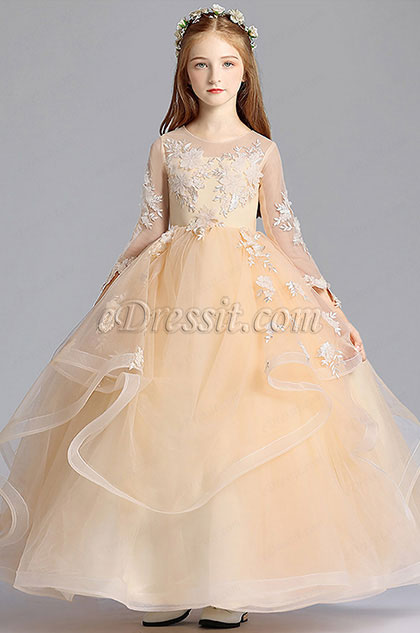 Long Beige Princess Party Stage Flowergirl Dress