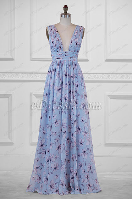 eDressit Plunging V-Cut Strap Print Floral Evening Dress(00183168A)