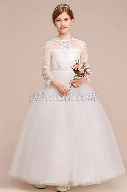 eDressit White Long Wedding Flower Girl Party Dress (27195007)