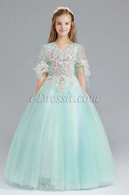 Flora Long Handmande Princess Party Girl Dress
