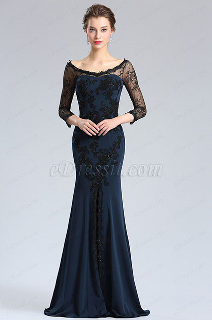 eDressit Sleeves Blue High Slit Prom Evening Dress (26181505)