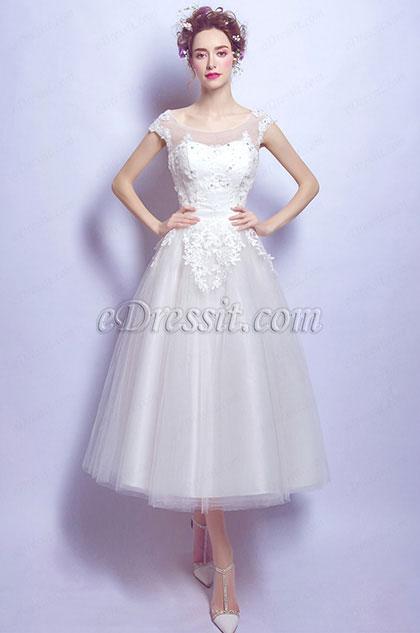 eDressit White Sexy Cap Sleeves Lace Wedding Bridal Dress (35195507)