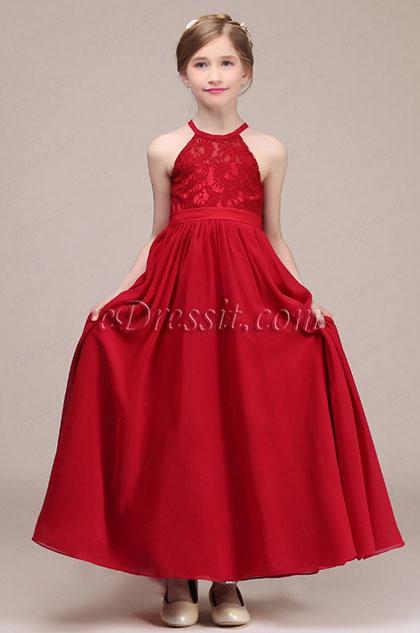 eDressit Red Long Halter Flower Girl Stage Dress (27193702)