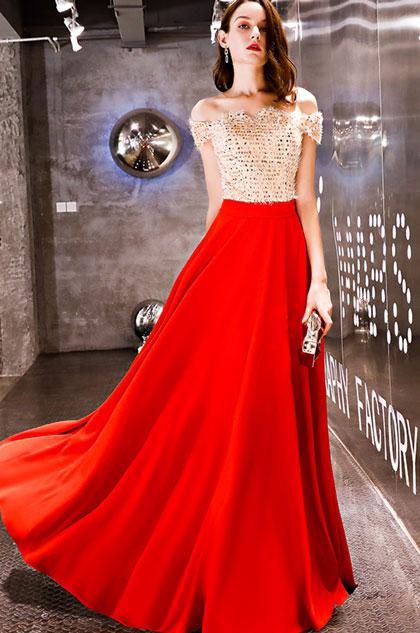 eDressit Champagner-Red Off Shoulder Long Party Ball Dress (36219002)