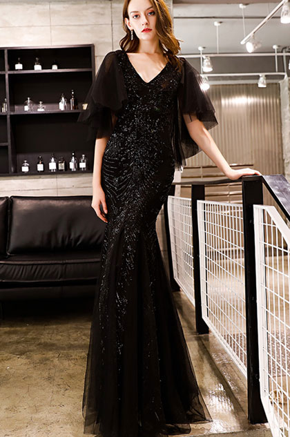eDressit Sexy V-Cut Black Sequins Mermaid Party prom Gown (36220100)