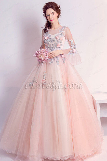 eDressit Pink Sleeves Embroidery Long Tulle Party Prom Dress (36195401)