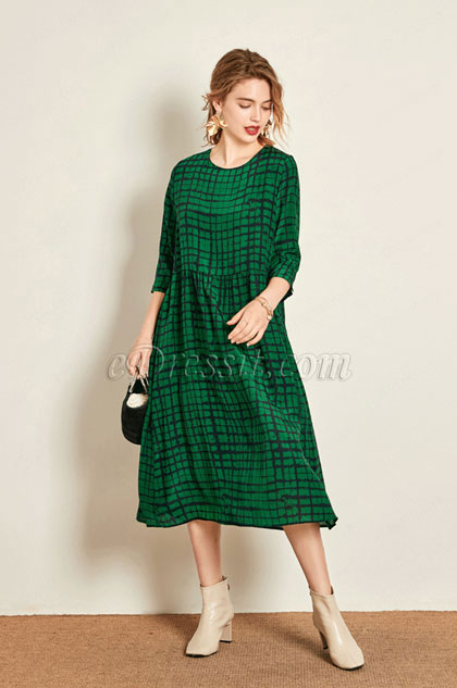 eDressit Green Shepherd Check Women Dress Day Dress (30193204)
