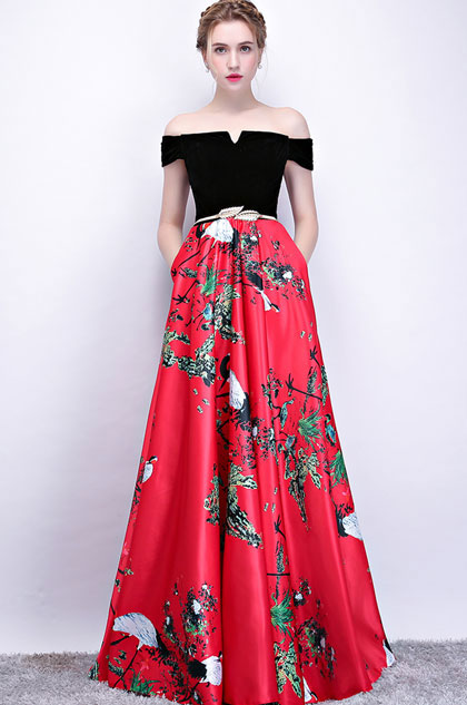 eDressit Black Off Shoulder Floral Skirt Party Ball Dress (36215502)