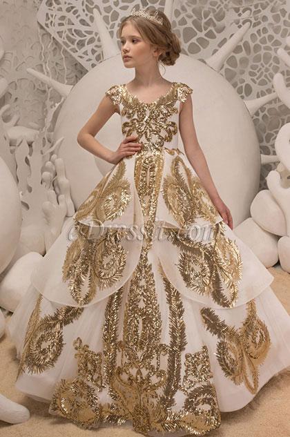 Empire Cap Sleeves Multi-layer Wedding Flower Girl Dress