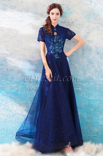 eDressit Blue Unique High Neck Sleeves Evening Party Dress(36203605)