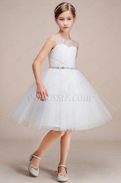 eDressit White Illusion Neck Sleeveless Flower Girl Dress (28192907)