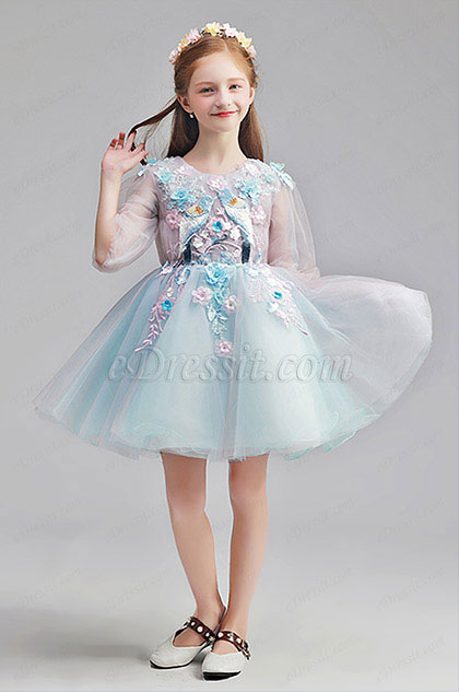 Lovely Blue Short Girl Wedding flower Girl Dress
