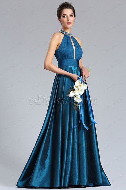 eDressit Sexy Halter Blue Beaded Evening Party Dress (00182205)