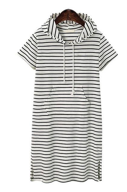 eDressit Women Short Sleeves Stripe Hoodies Dress (31190107)